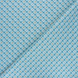 Cretonne cotton Fabric - blue Avrey x 10cm