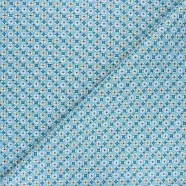 Tissu coton cretonne Avrey - bleu x 10cm