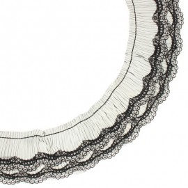 70 mm Pleated lace ribbon - black Diane x 50cm