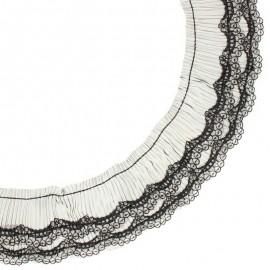 Ruban plissé dentelle Diane 70 mm - noir x 50cm