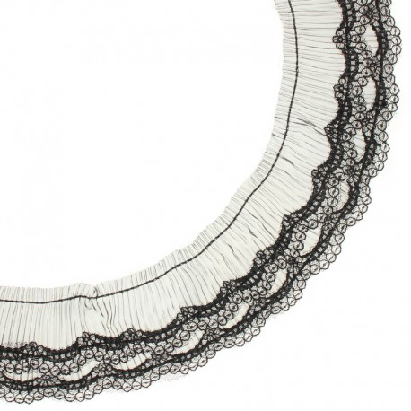 70 mm Pleated lace ribbon - black Diane x 50cm