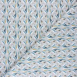 Tissu coton cretonne Paon - gris x 10cm