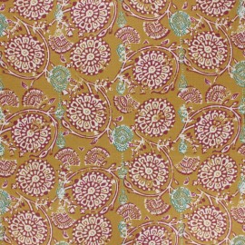 Coated cretonne cotton fabric - mustard yellow Jivana x 10cm