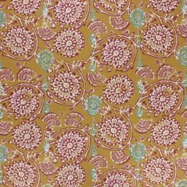 Tissu coton cretonne enduit Jivana - moutarde x 10cm