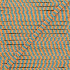 8 mm Zig zag Braided Cord - Orange/blue x 1m