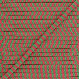 Cordon Tressé Zig zag 8 mm - Fuchsia/Vert  x 1m