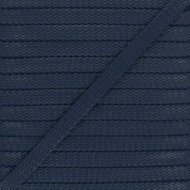 Cordon Tressé aspect cuir Odessa 9 mm - bleu marine x 1m