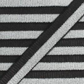 32 mm Sequin Braid Trimming - silver/black Honey x 50cm
