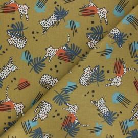 Tissu coton cretonne Feleo - vert x 10cm