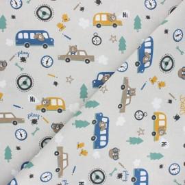 Cretonne cotton Fabric - grey Piston x 10cm