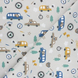 Tissu coton cretonne Piston - gris x 10cm