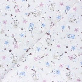 Cretonne cotton Fabric - white Lunazel x 10cm