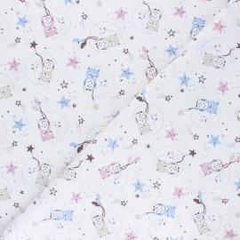 Tissu coton cretonne Lunazel - blanc x 10cm