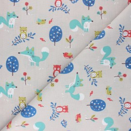 Cretonne cotton Fabric - grey Choubois x 10cm