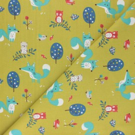 Cretonne cotton Fabric - green Choubois x 10cm