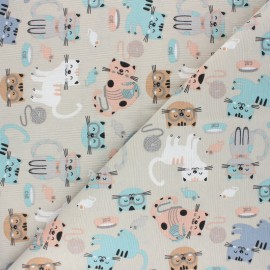 Linen aspect polycotton fabric - blue Cats x 10cm