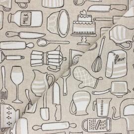Tissu Toile polycoton aspect lin En Cuisine - blanc x 10cm
