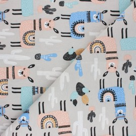 Polycotton canvas fabric - grey Lama x 10cm