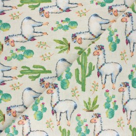 Tissu Toile polycoton aspect lin Desert Llama - vert x 10cm