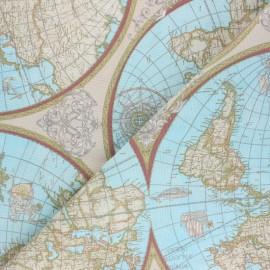 Tissu Toile polycoton Planisphère - bleu x 10cm