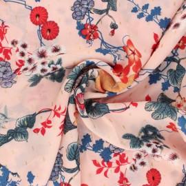 Flowery Viscose fabric - pink Osaka x 10cm