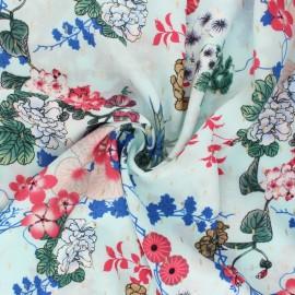 Tissu viscose à fleurs Osaka - bleu x 10cm