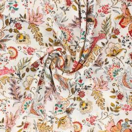 Flowery Viscose fabric - white Bali x 10cm
