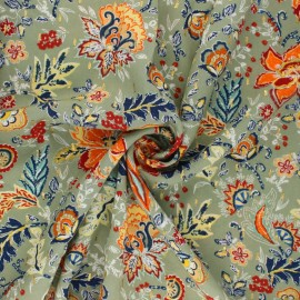 Flowery Viscose fabric - green Bali x 10cm