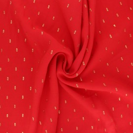 Plain viscose fabric - red/gold plumetis x 10cm