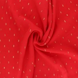 Tissu viscose plumetis dorés - rouge x 10cm