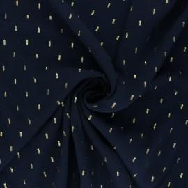 Plain viscose fabric - navy blue/gold plumetis x 10cm