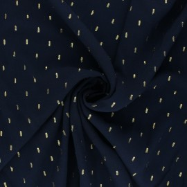 Tissu viscose plumetis dorés - bleu marine x 10cm