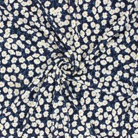 Tissu jersey floqué Floraison - bleu marine x 10cm