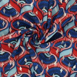 Lurex polyester fabric - red Malia x 10cm