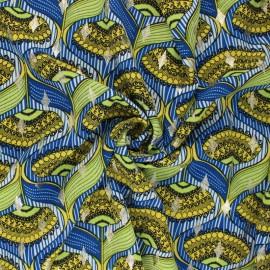 Tissu polyester lurex Malia - bleu x 10cm