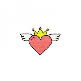Iron-on patch Heaven heart - neon pink