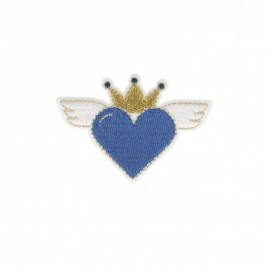 Iron-on patch Heaven heart - blue