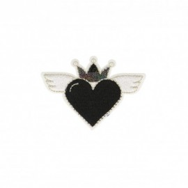 Iron-on patch Heaven heart - black