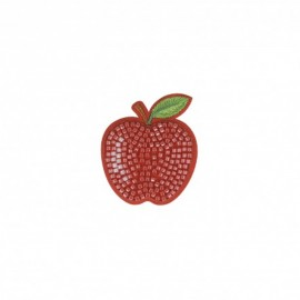 Iron-on patch pearl Pomme - red