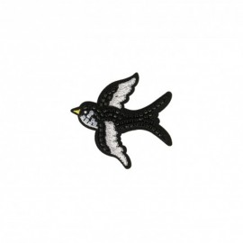 Iron-on patch pearl Oiseau - black