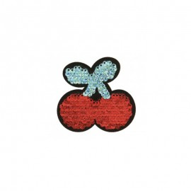 Iron-on patch reversible sequin Cherry - red/blue