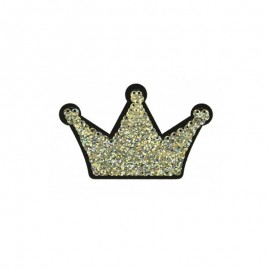 Iron-on patch reversible sequin Queen - gold/silver