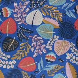 Coated cretonne cotton fabric - blue Kohpical x 10cm
