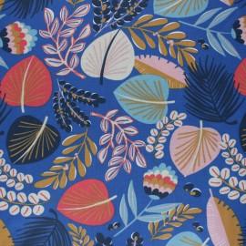Tissu coton cretonne enduit Kohpical - bleu x 10cm