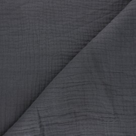 Plain Triple gauze fabric - storm grey x 10cm
