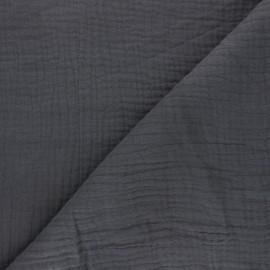 Tissu triple gaze de coton uni MPM - gris orage x 10cm