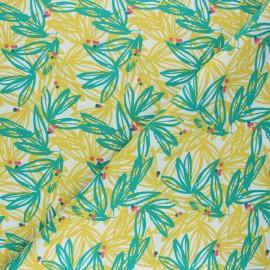 Cretonne cotton Fabric - green Nabali x 10cm
