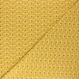Tissu coton cretonne Mikoa - moutarde x 10cm