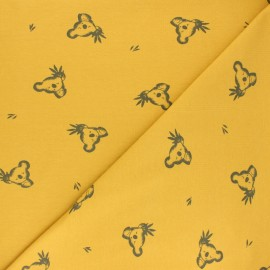 Jersey cotton fabric - mustard yellow Luan x 10cm