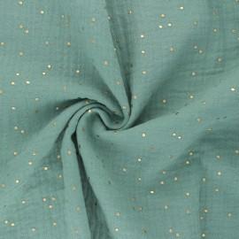 Tissu double gaze de coton pois doré - vert amande douce x 10cm
